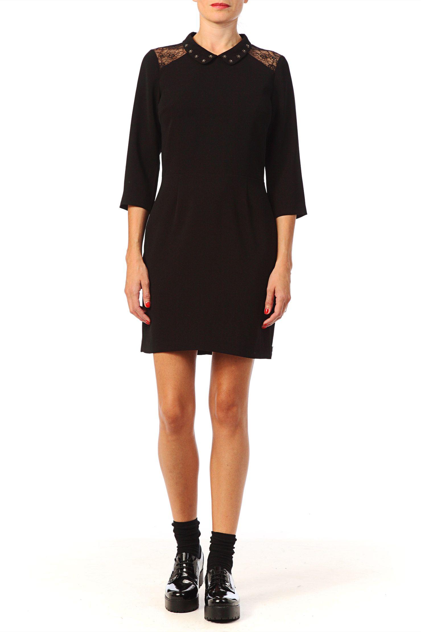 robe col claudine valentina noir maison scotch sur fashion pinterest. Black Bedroom Furniture Sets. Home Design Ideas