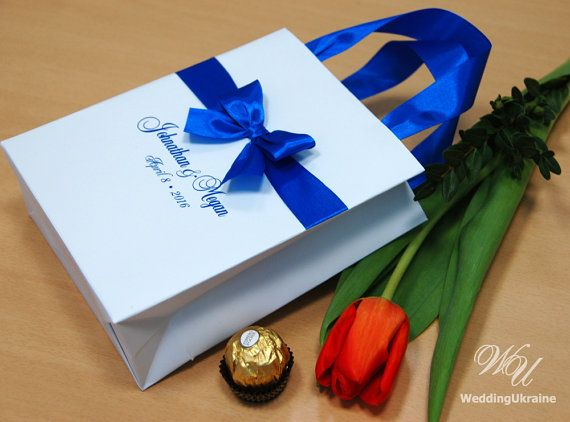 Royal Blue Wedding Favor Gift Bags With Satin Ribbon Bow And Names Elegant Personalized Paper Bag Custom For Guests