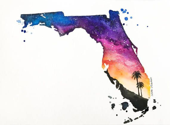 Original Florida State Map Watercolor Painting By Nikspaintgallery