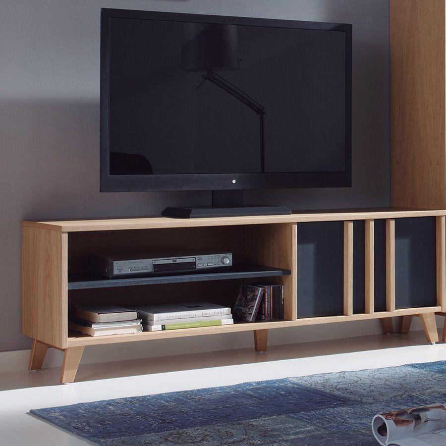 Meuble TV Scandinave Gris Et Couleur Bois RUBEN Meuble TV - Sofamobili meuble tv pour idees de deco de cuisine