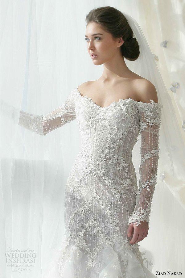 2015 Wedding Dresses Ziad Nakad Bridal 2013 Dress Off Shoulder Long Sleeves