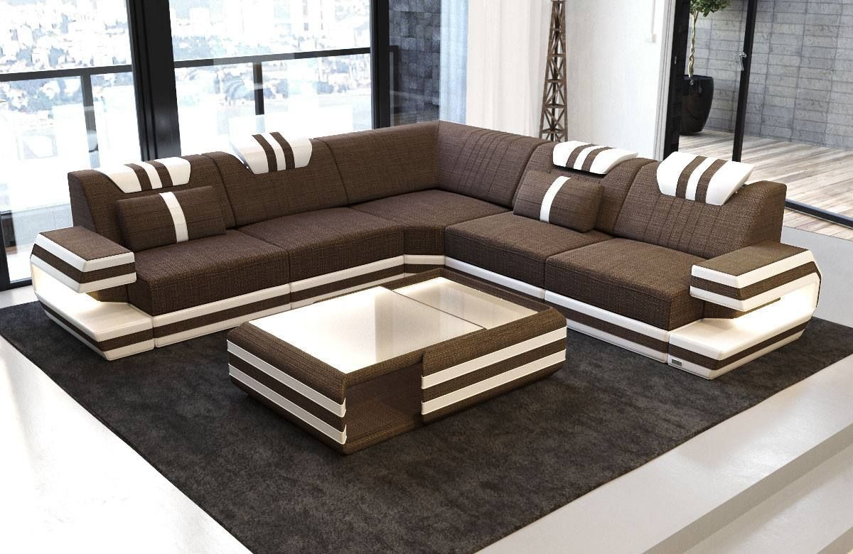 Modern Sectional Fabric Sofa San Antonio L Shape with LED  Corner