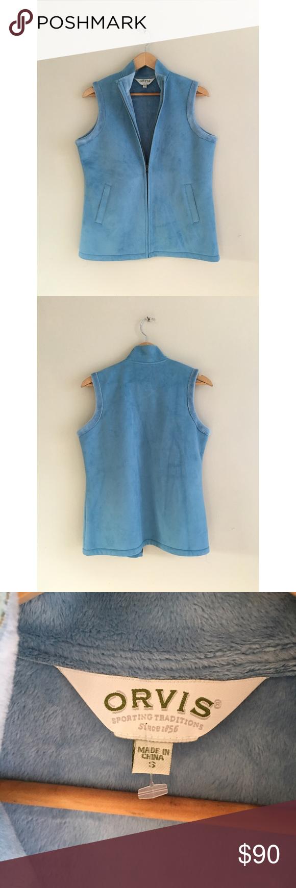 Vintage baby sky blue faux suede soft winter vest faux suede