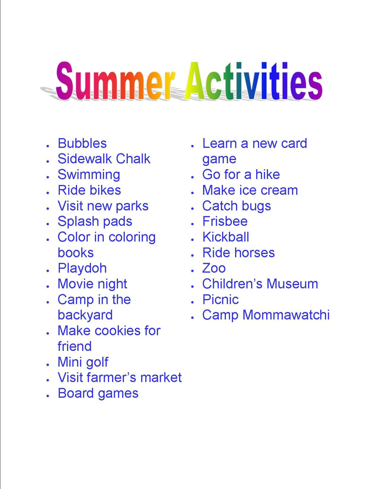 Fun Things To Do In The Summer With Your Kids Print It Out And Start Having Fun
