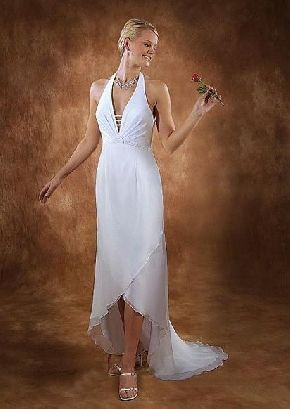 Cheap Of Custom Made Elegant Halter White Chiffon Ruched High Low Empire Waist Zipper Up A Line Wedding Dresses For Brides Reception
