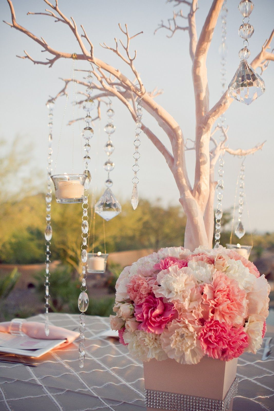 Manzanita branch coral reception wedding flowers