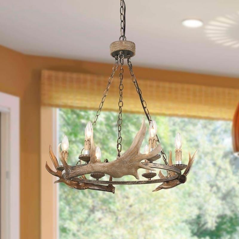 edina rustic 6-light antler chandelier in 2019   antler