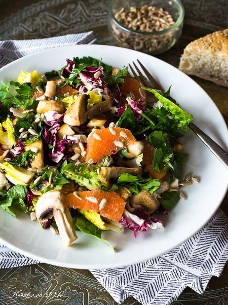Salat mit Champignons und Blutorangen