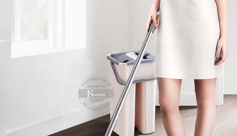 Konco Magic Cleaning Mops With Bucket Floors Squeeze Flat Mop With Water Home Kitchen Floor Cleaner House Cleaning Tools Cleaning Mops Clean House Clean Kitchen Floor