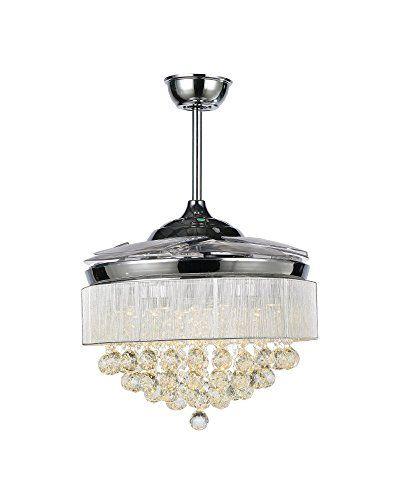 Fandelier Ceiling Fan And Crystal Led Chandelier 2 In 1 Modern Fandelier Retractable Blades With 4 Retractable Ac Chandelier Fan Led Ceiling Fan Ceiling Fan