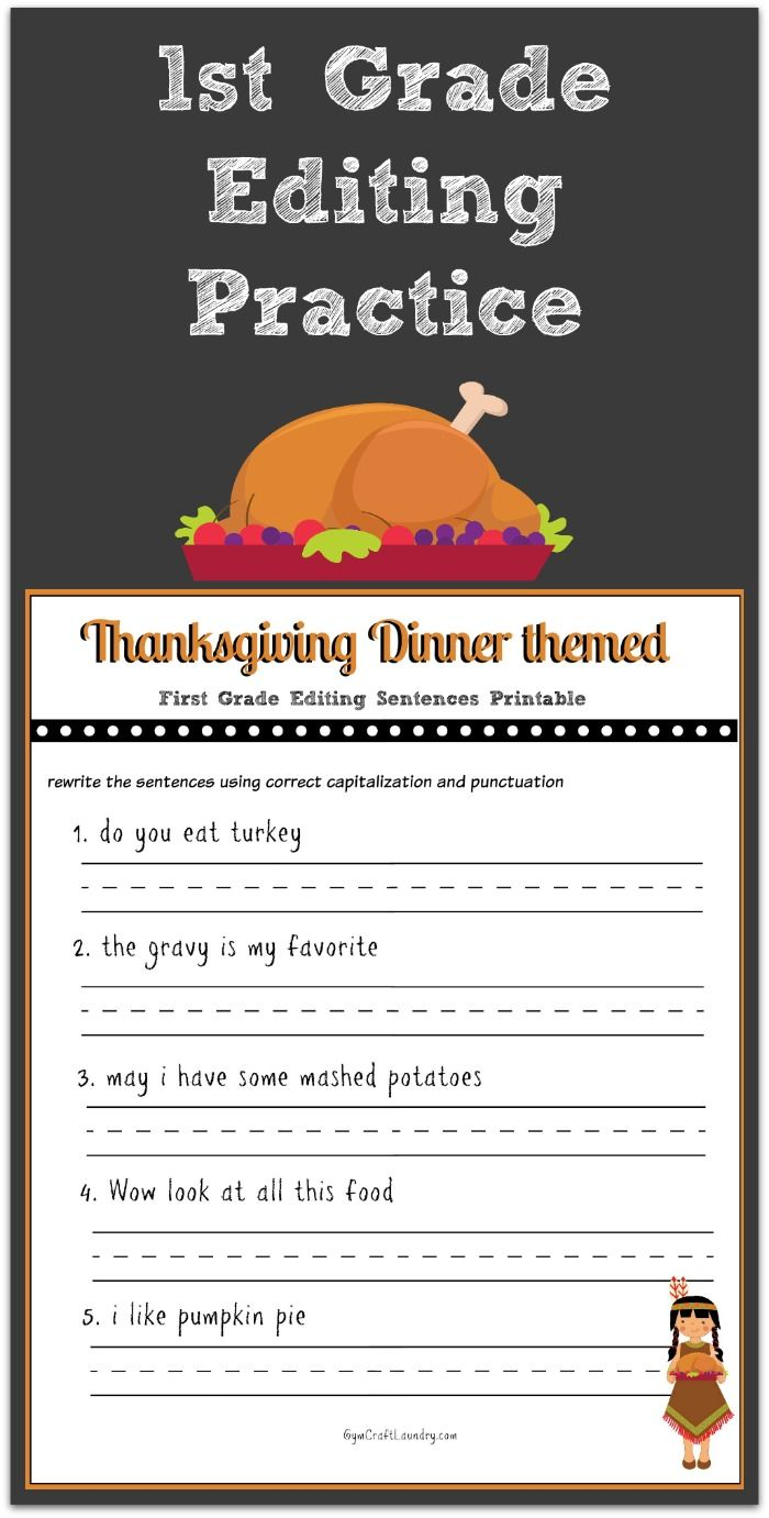 Thanksgiving 1st Grade Editing Printable Thanksgiving