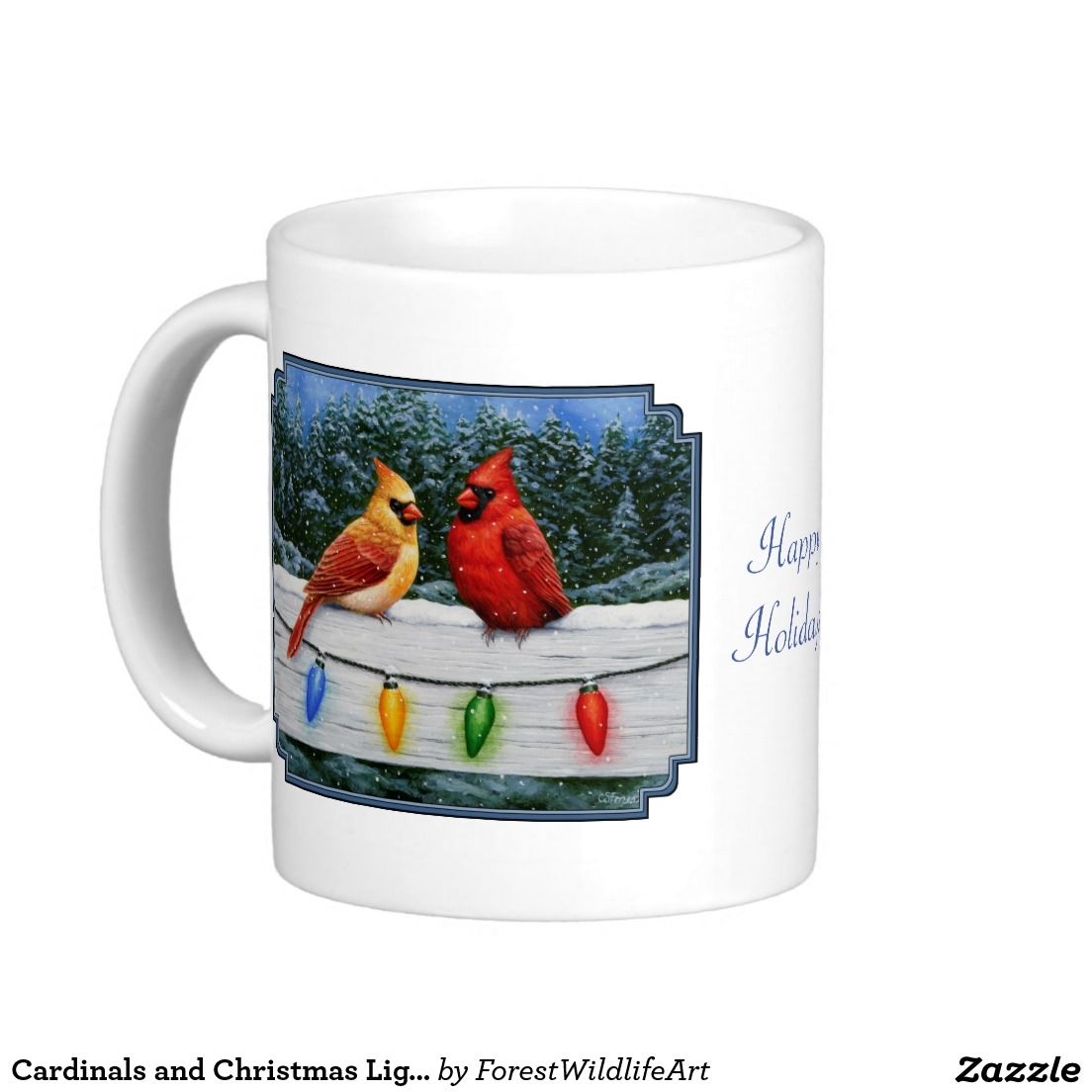 cardinals and christmas lights classic white coffee mug