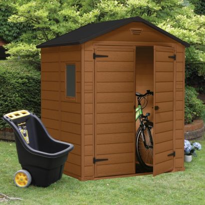 Blooma 6x5 Brown Plastic Double Door Shed Home Delivered 5397007006254 Shed Shed Homes Plastic Sheds