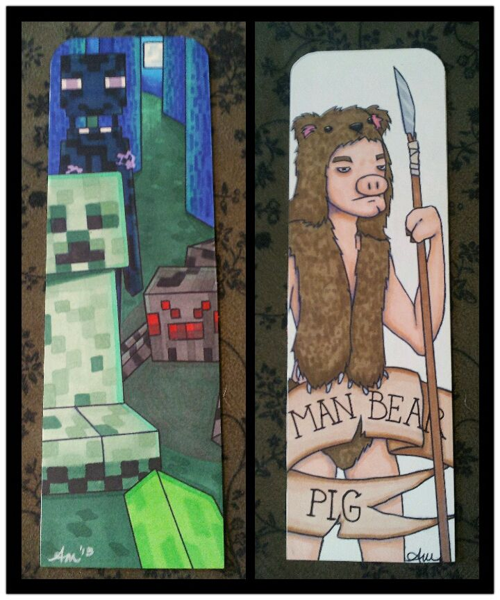 Made A Bookmark For My Bf Who Enjoys Minecraft Manbearpig Is His Username So I Had Fun Interpreting It D Art How To Make My Arts
