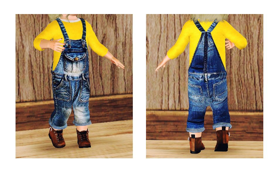 【Apparel】pu jean overalls(shirt is also included.)