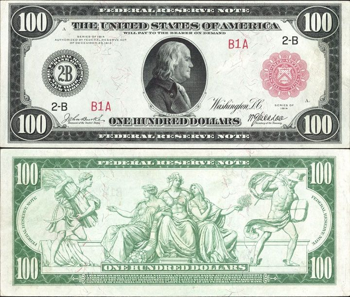 Us 100 Dollar Note Series 1914 New York 2 B Serial B1a Signatures Burke Mcadoo Five Allegorical Fig Banknotes Money Money Notes Dollar Money