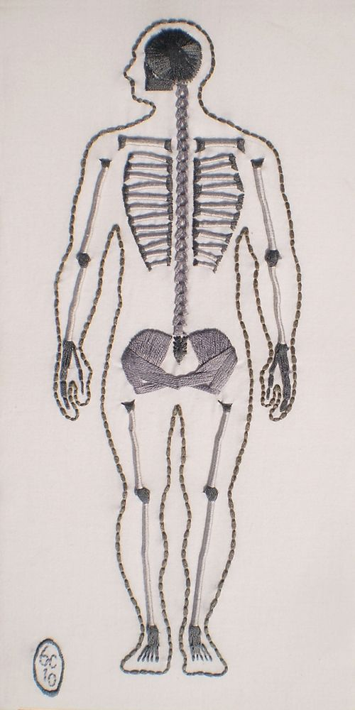 Skeletal by Ben Conrad, cotton embroidery floss on muslin, 2010.
