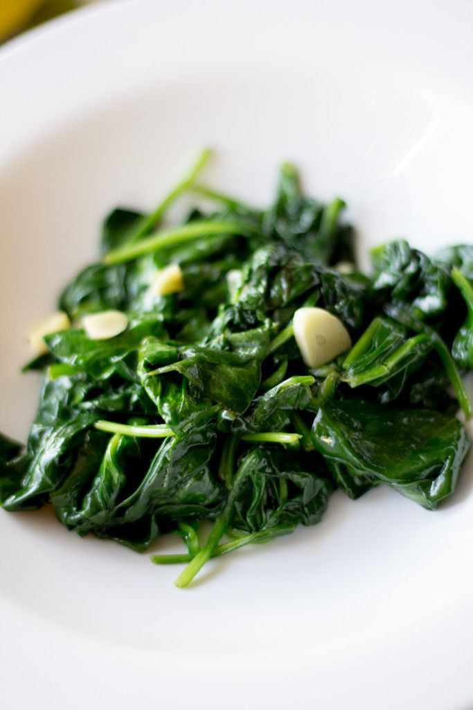 Spinach sautéed with lemon and garlic. It's a super quick, super easy side dish that tastes great and is even good for you!
