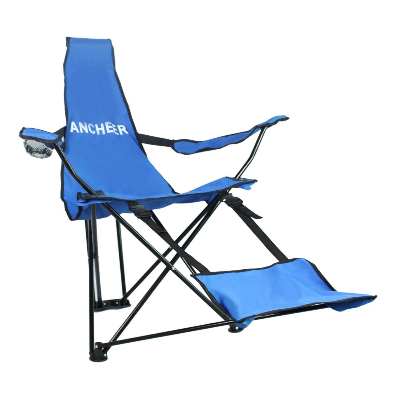 Ancheer Portable Folding Tripod Recliner Escape Chair With Armrests Detachable Footrest And Cup Holder For Camping Furniture Outdoor Chairs Camping And Hiking