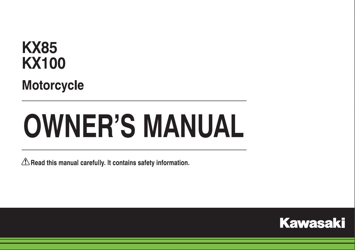 Kawasaki Kx65 Kx100 2014 Owner S Manual Has Been Published On