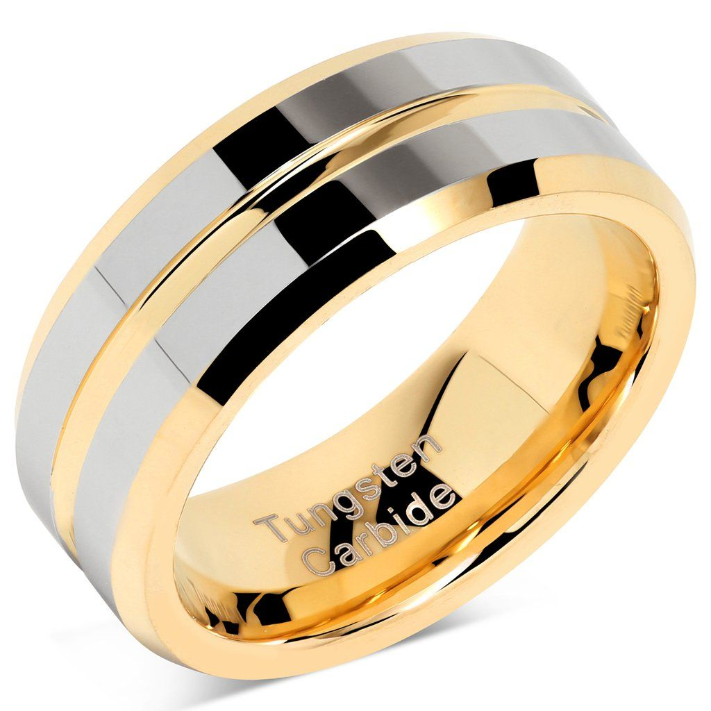 This is a photo of 41S JEWELRY Tungsten Rings for Mens Wedding Bands Gold Silver Two