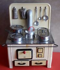 Vintage U.S.Zone Germany, MFZ Tinplate Child/Dolls TOY STOVE, Utensils & Pans