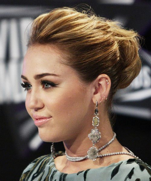 Miley cyrus curly formal updo hairstyle medium brunette hair miley cyrus curly formal updo hairstyle medium brunette hair color pmusecretfo Images