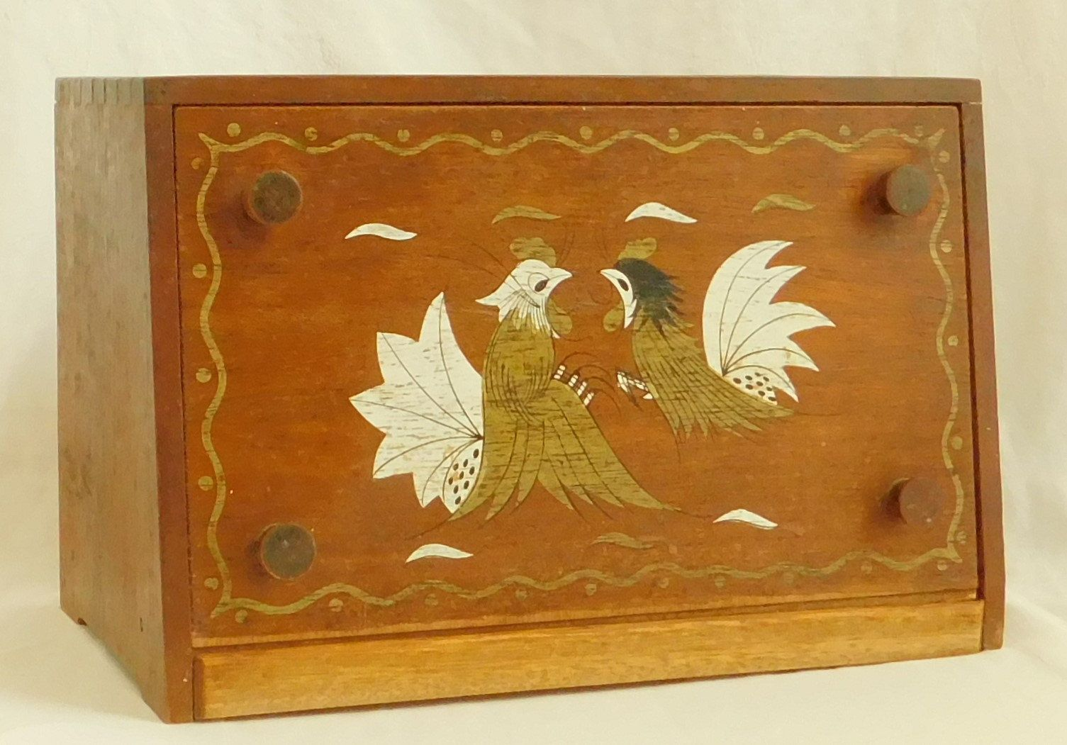 Woodpecker Ware Bread Box Rooster Dovetail Wooden Made In