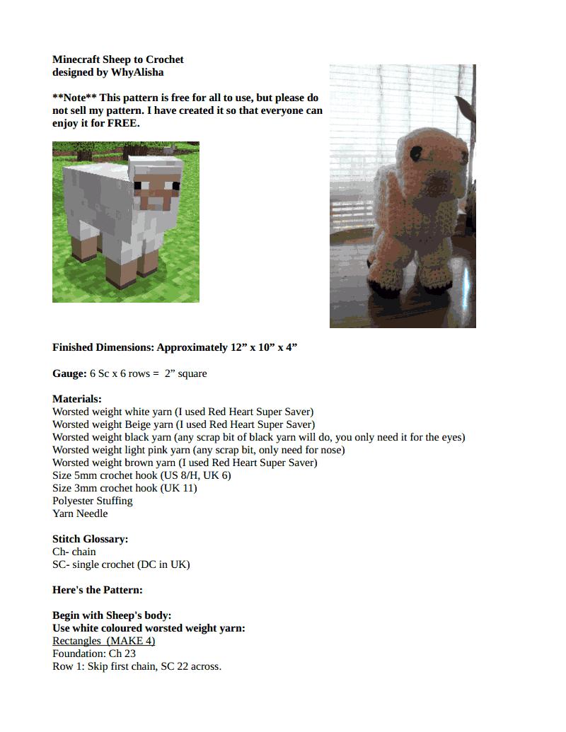 Minecraft Sheep Pattern to Crochet.pdf - Google Drive   minecraft ...