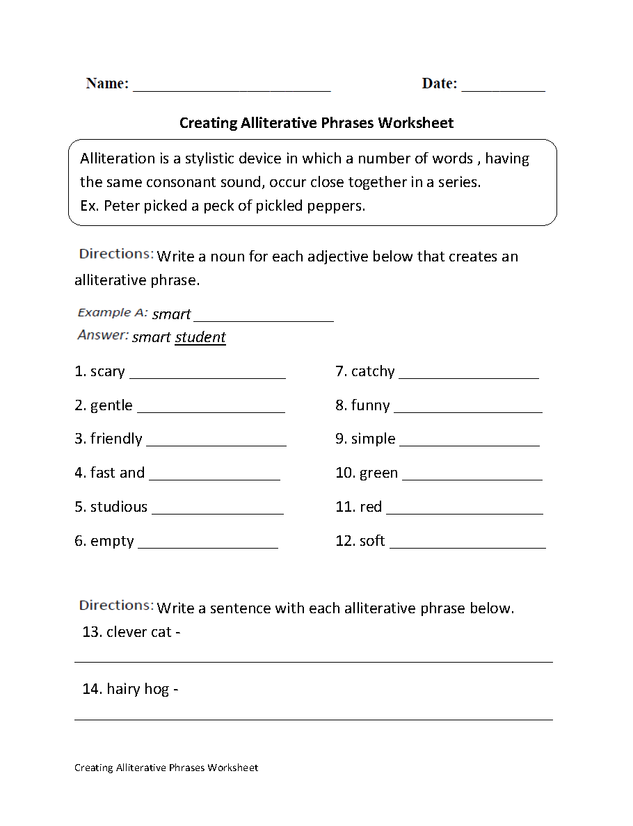small resolution of Englishlinx.com   Alliteration Worksheets   Alliteration