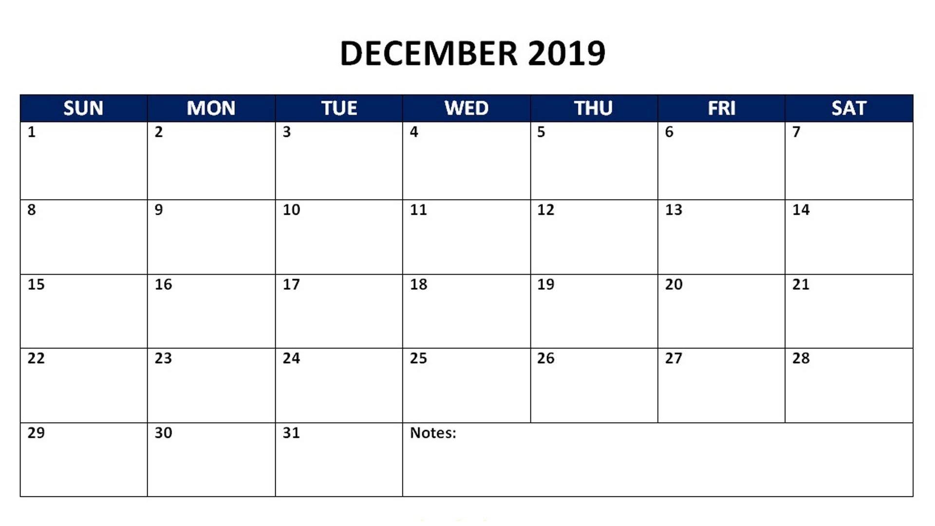 December 2019 Monthly Calendar 2019 Calendars Calendar 2019