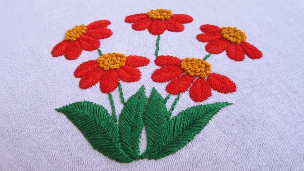 Hand Embroidery   Raised Fishbone Stitch   Hand Embroidery Designs ...