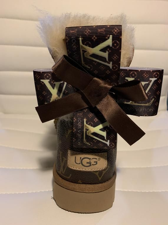 Ugg Boot With Real Louis Vuitton Leather On Back Of Boot With Bow Bailey Bow Ii Ugg Boot If