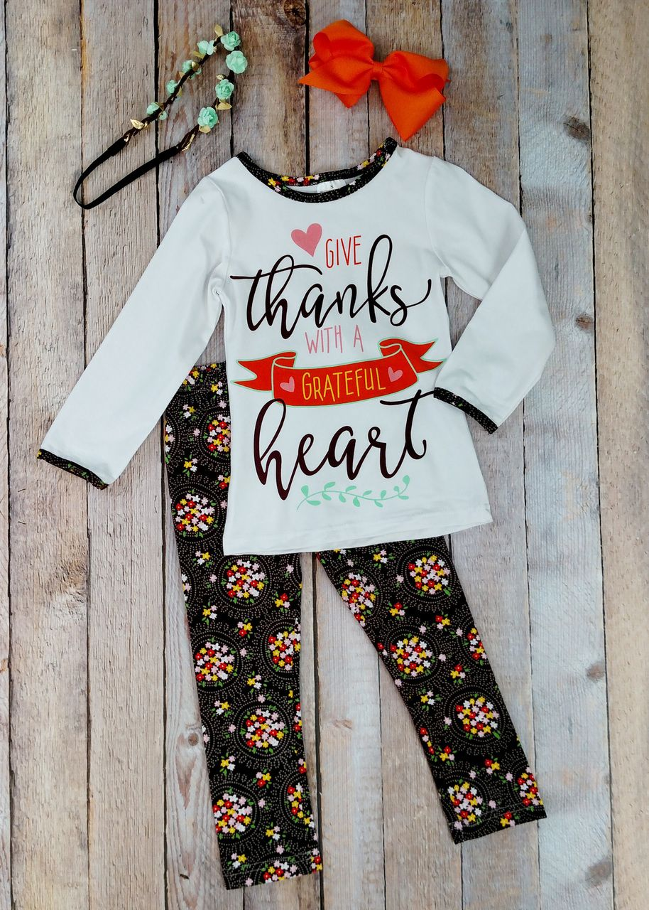 The Hair Bow Company Give Thanks Top Amp Floral Leggings