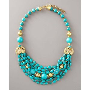 Jose Maria Barrera Turquoise Gold Necklace Jewelry Pinterest