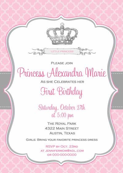 Birthday Invitation Princess Crown For Girl DIY Printable - Royal birthday invitation template