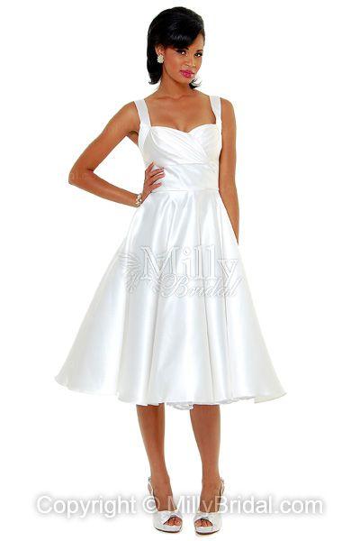 Empire Sweetheart Taffeta Ruched White Tea-length Wedding Dress at Millybridal.com