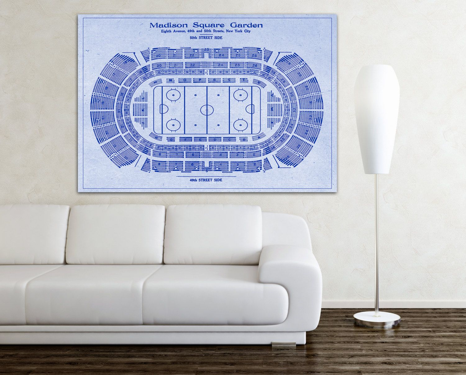 Print of vintage hockey madison square garden blueprint on photo print of vintage hockey madison square garden blueprint on photo paper matte malvernweather Image collections