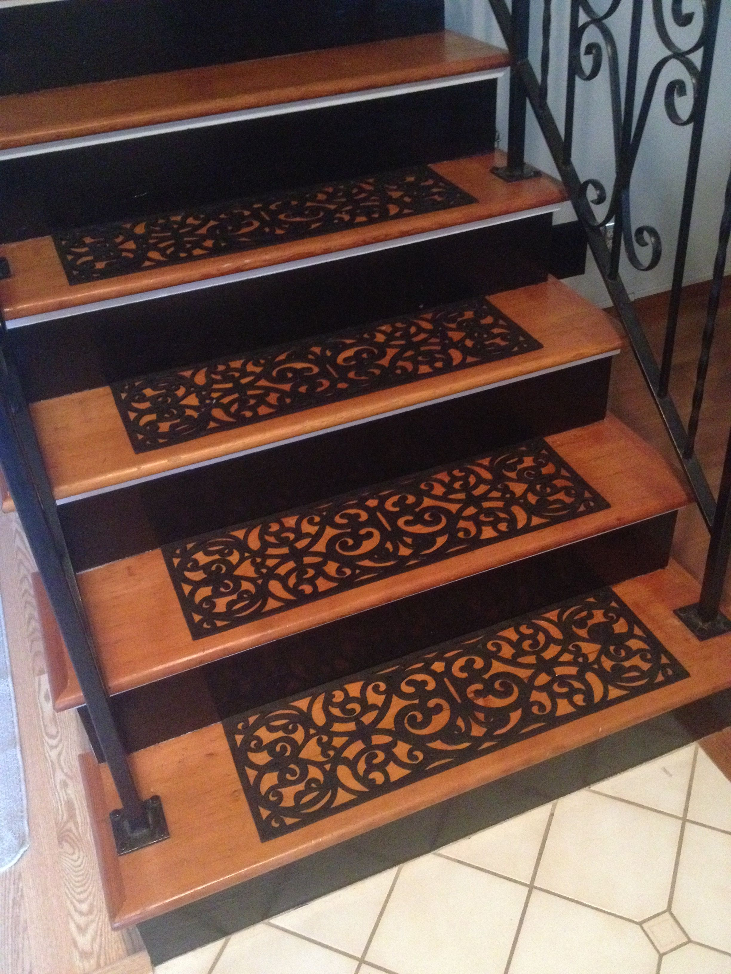 Best Rubber Scroll Stair Treads Replaced Carpet On Stairs 400 x 300