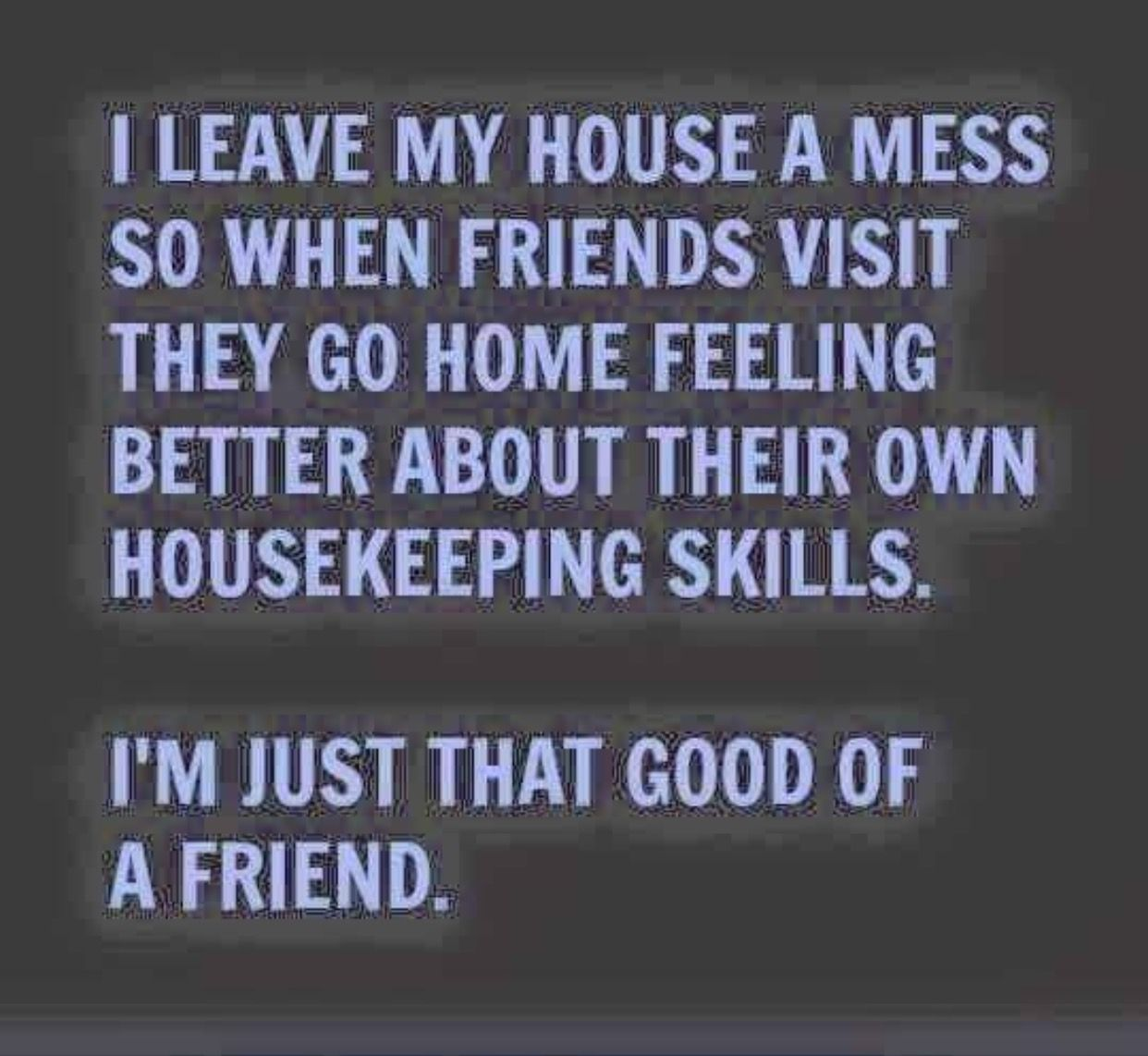 Housekeeping Quotes I Leave My House A Mess So When Friends Visit They Go Home Feeling
