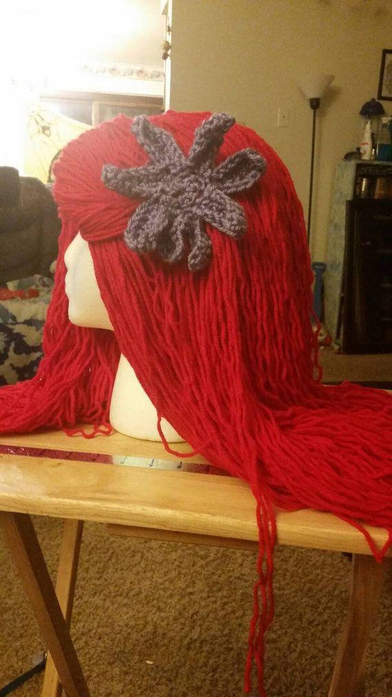 Little mermaid cosplay soft yarn wig hat by Unicorncrochet ...