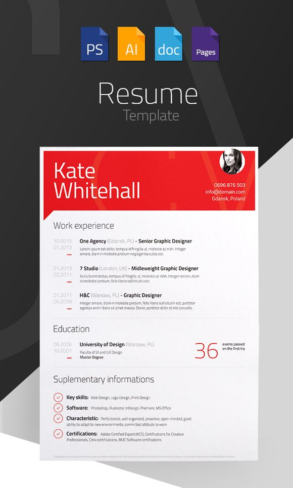 Resume File Format Gorgeous Resumecv Template  4 Files Formats  Pinterest  Cv Template .