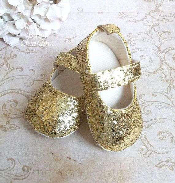 Glitter Baby Shoes Gold Shoes for Baby