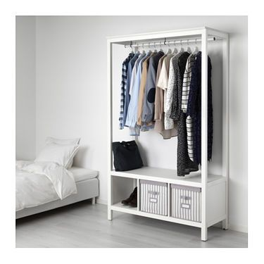 HEMNES Open wardrobe White stained IKEA | Open wardrobe, HEMNES and ...