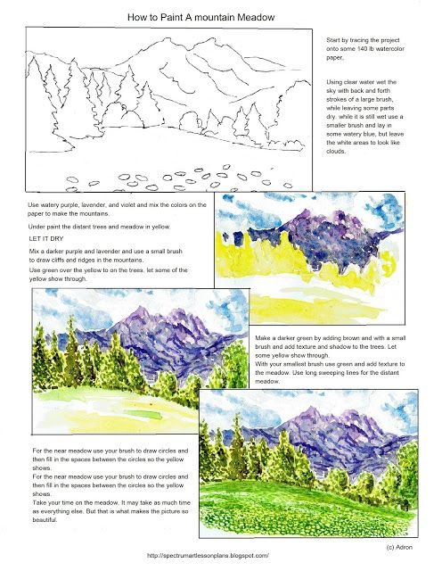 Adron\'s Art Lesson Plans: How to Paint A Mountain Meadow. | Kuns ...