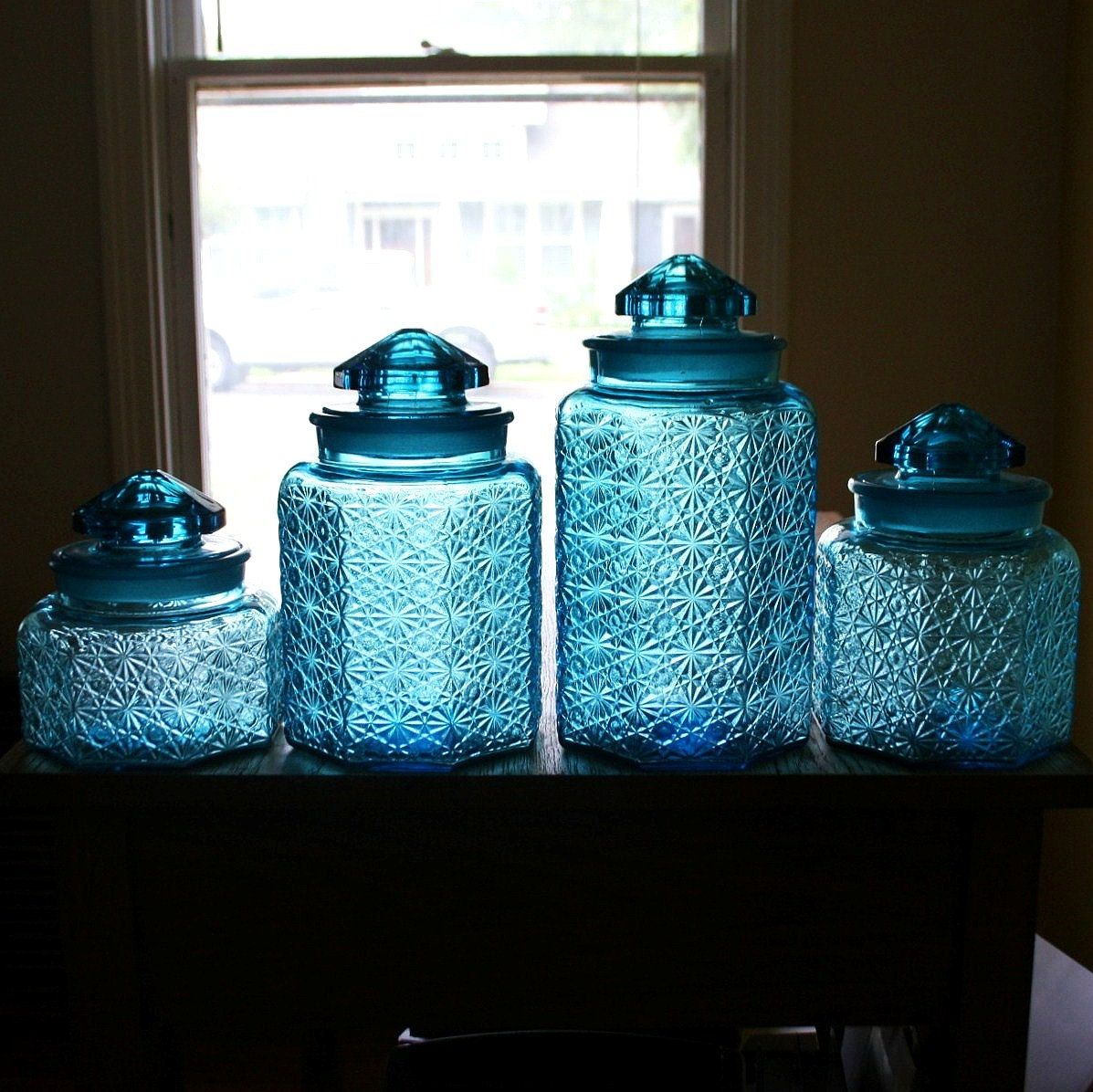 Beautiful Vintage Blue Glass Canister Set - Daisy Button Pattern ...