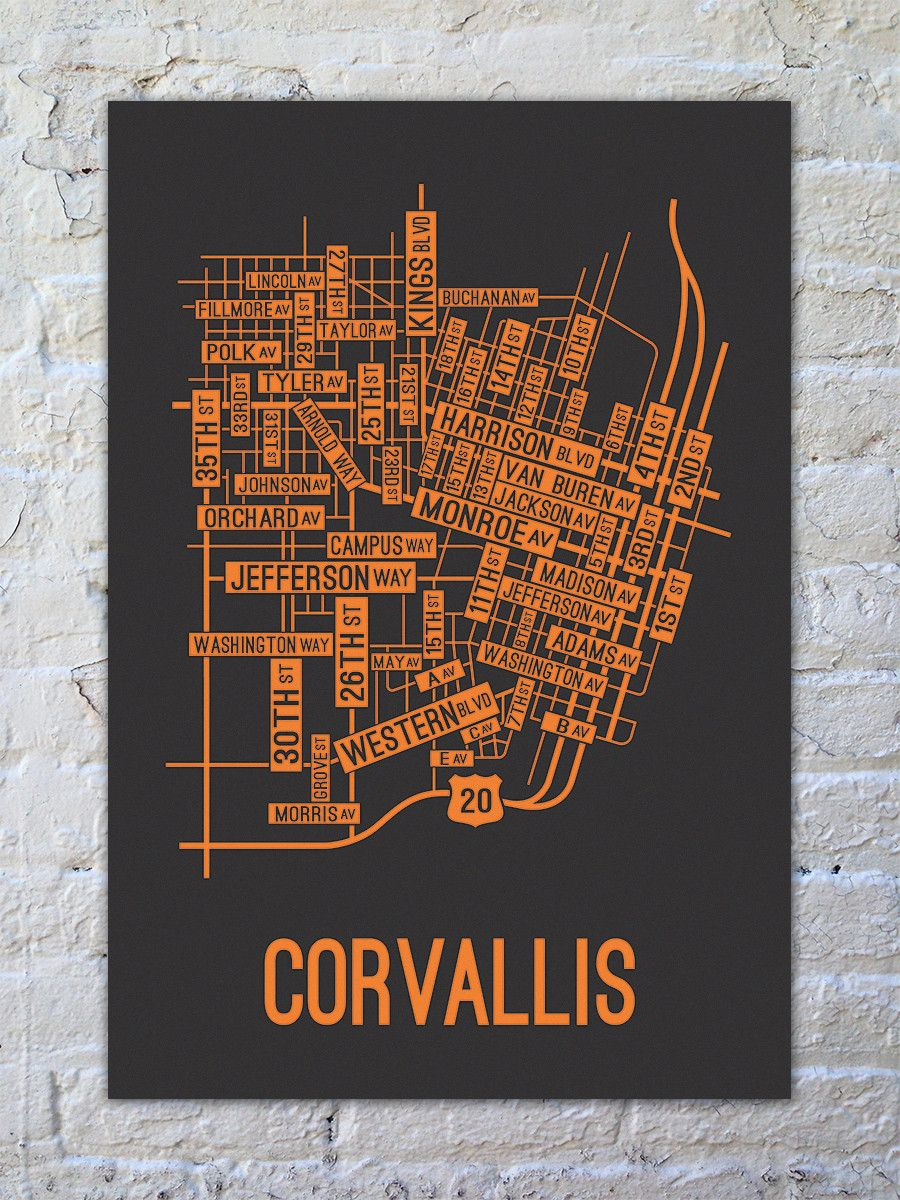 Corvallis Oregon Street Map Corvallis, Oregon Street Map Print in 2019   house board