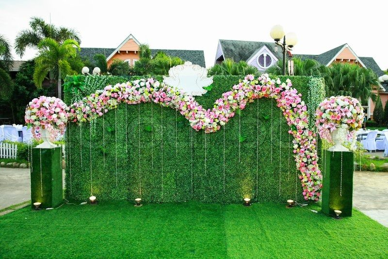 Wedding Archway With Flowers Arranged In Park For A Wedding Stock Photo Colourbox Grass Backdrops Fake Grass Decor Wedding Archway