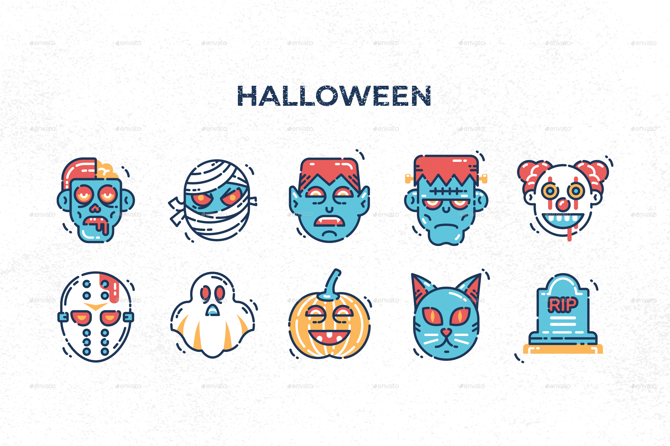Holiday Icons Preview Graphicriver Holiday Icon Halloween Icons Christmas Icons