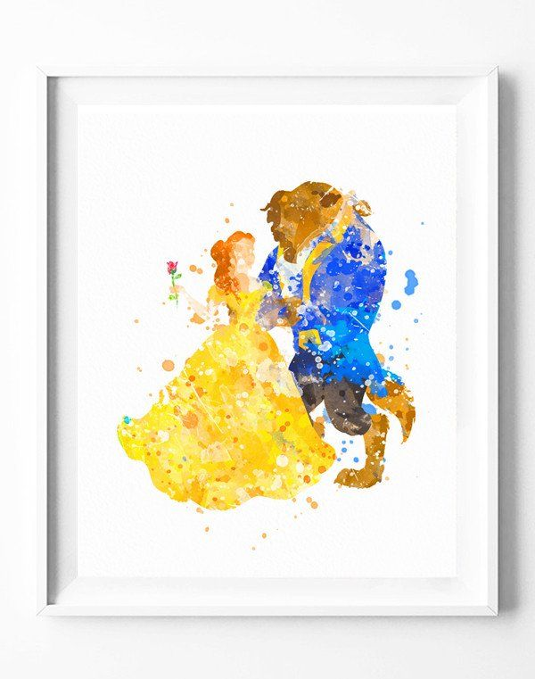 Disney Beauty and the Beast Art Print Poster Watercolor Painting ...